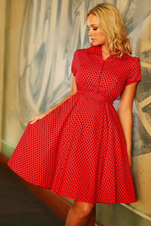 Red Rockabilly Swing Pinup Polka Dot 1950's LUCY Dress